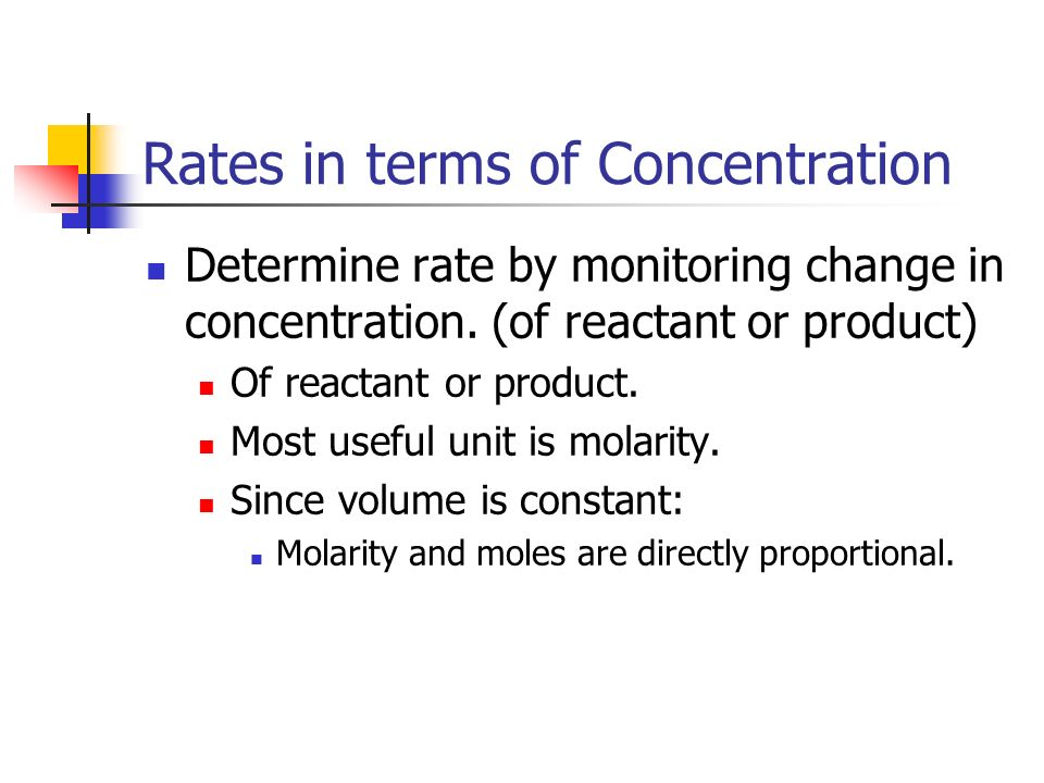 Rates in terms of Concentration Determine rate by monitoring change in concentration. (of reactant or product) Of reactant or product. Most useful uni