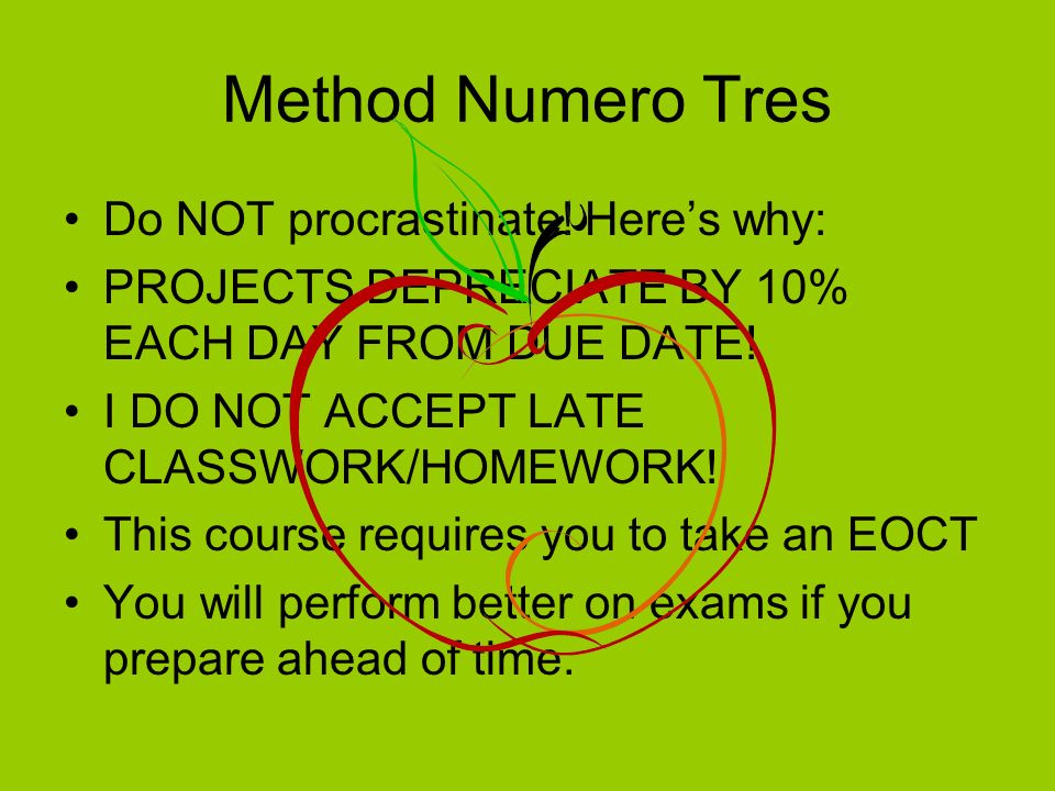 Method Numero quatro Ask you teacher for help prior to the examination/lab/project.
