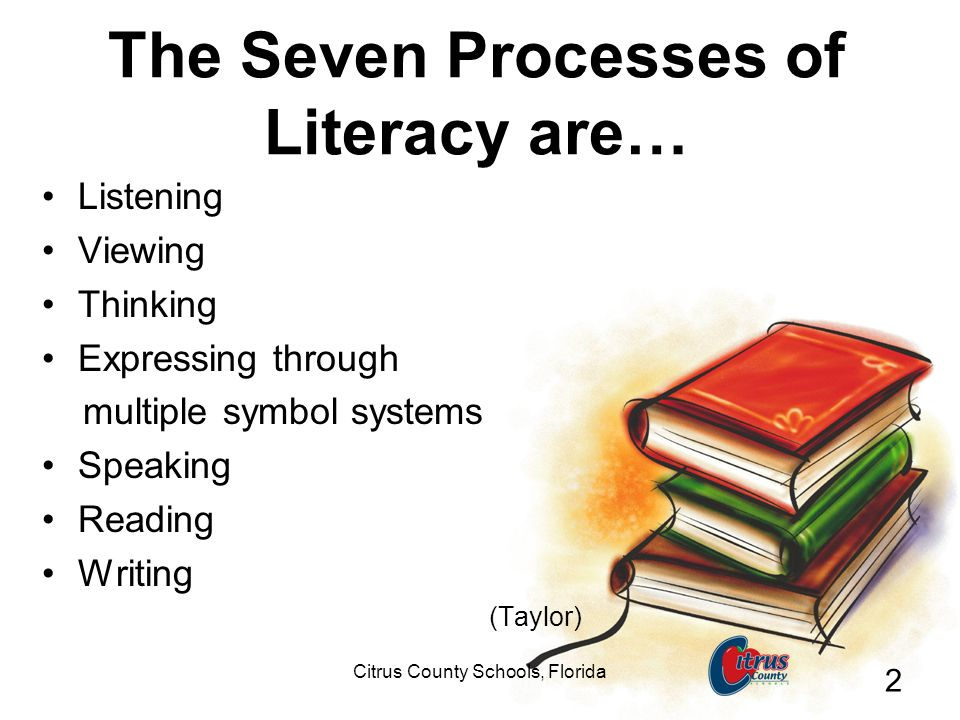 Citrus County Schools, Florida 2 The Seven Processes of Literacy are… Listening Viewing Thinking Expressing through multiple symbol systems Speaking Reading Writing (Taylor)