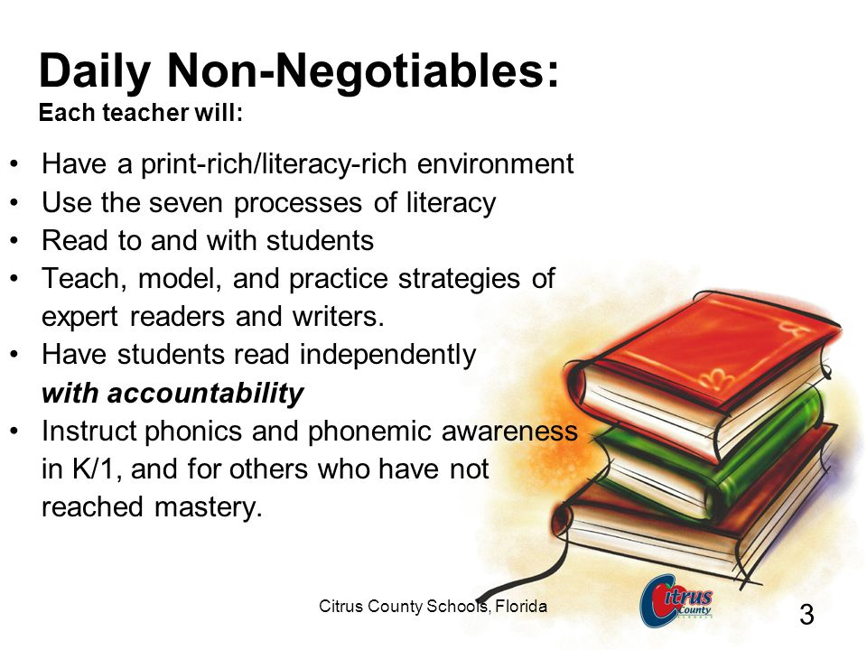 Citrus County Schools, Florida 3 Daily Non-Negotiables: Each teacher will: Have a print-rich/literacy-rich environment Use the seven processes of lite