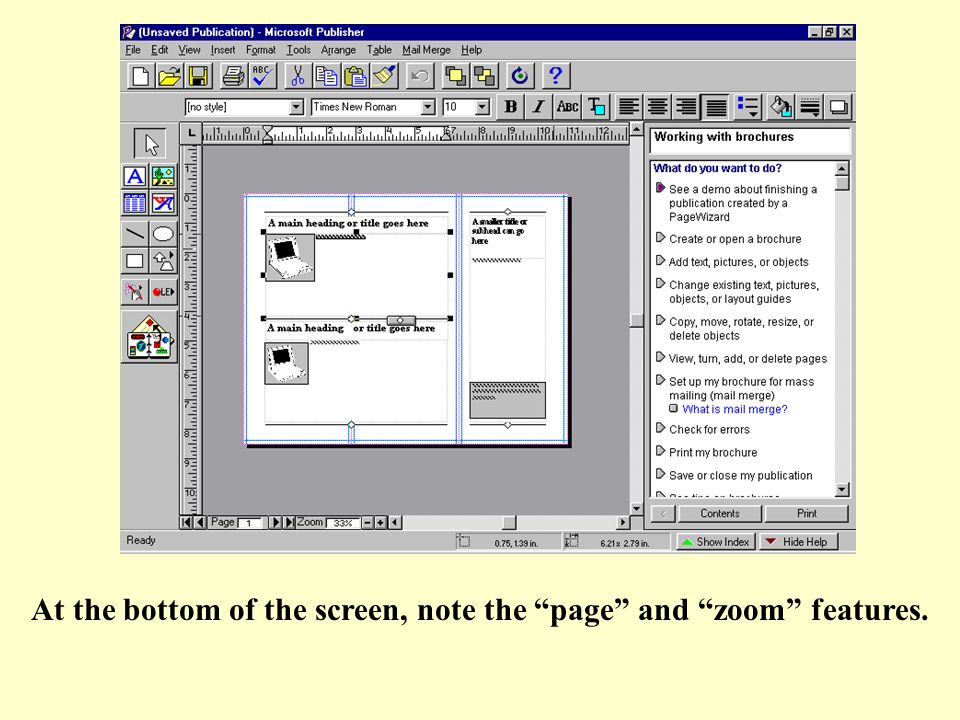 At the bottom of the screen, note the page and zoom features.