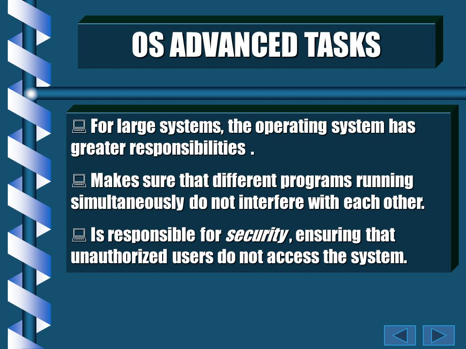 OS BASIC TASKS Programs talk to the operating system which: Programs talk to the operating system which: Receives input from the keyboard & mouse.