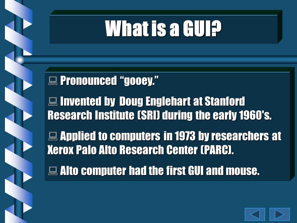 What is a GUI.Pronounced gooey. Pronounced gooey.