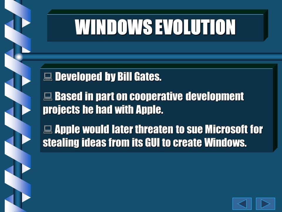 WINDOWS EVOLUTION Developed by Bill Gates.Developed by Bill Gates.