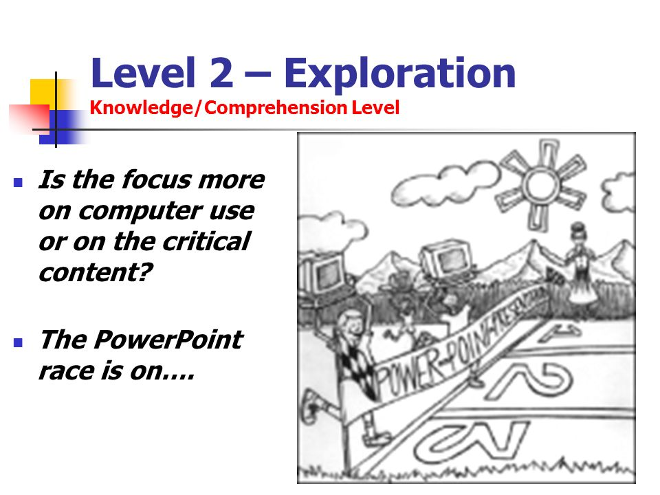 Level 2 – Exploration Knowledge/Comprehension Level Is the focus more on computer use or on the critical content? The PowerPoint race is on….