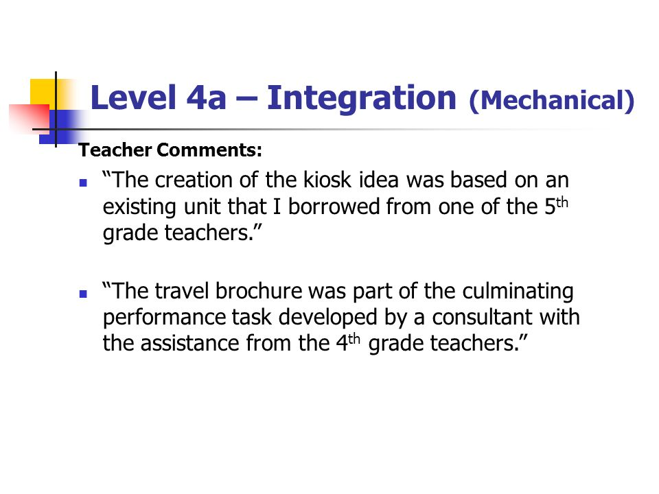 Level 4a – Integration (Mechanical) Teacher Comments: The creation of the kiosk idea was based on an existing unit that I borrowed from one of the 5 t