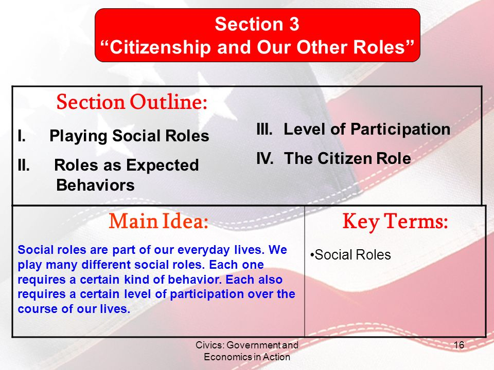Civics: Government and Economics in Action 16 Main Idea: Social roles are part of our everyday lives. We play many different social roles. Each one re