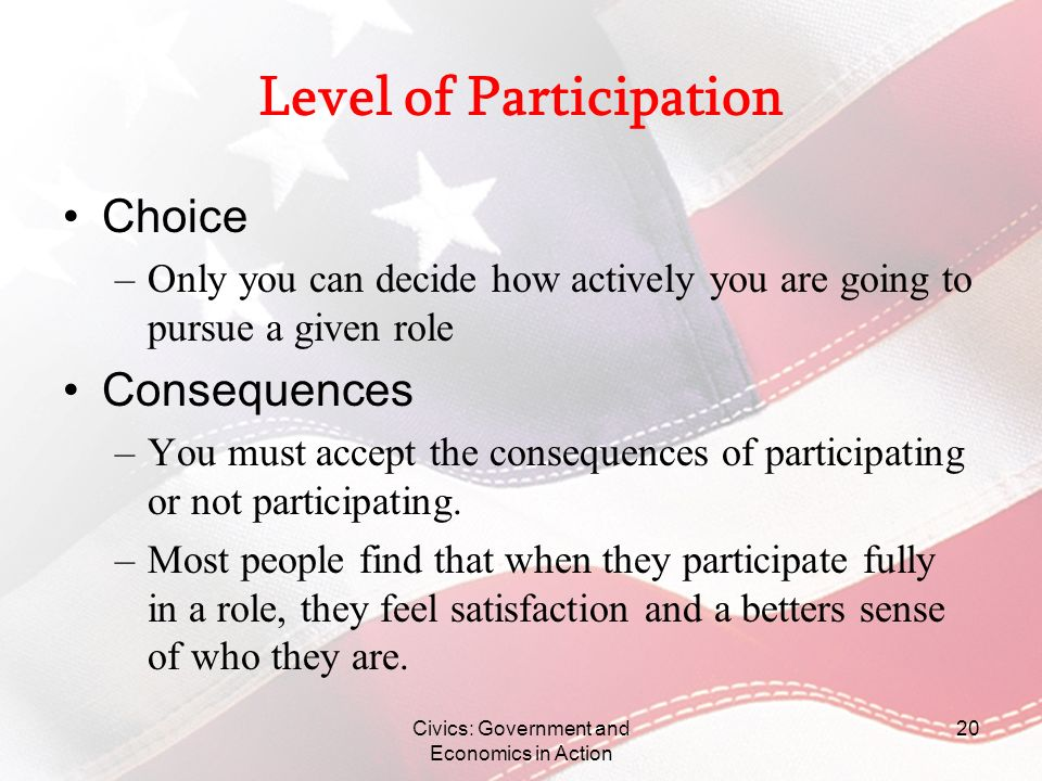 Civics: Government and Economics in Action 20 Level of Participation Choice –Only you can decide how actively you are going to pursue a given role Con