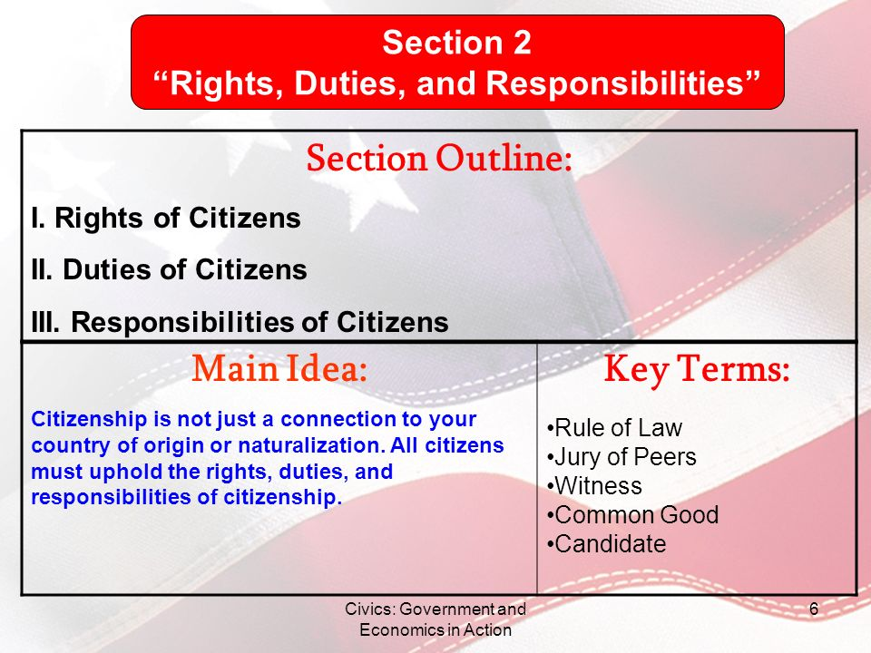 Civics: Government and Economics in Action 6 Section Outline: I. Rights of Citizens II. Duties of Citizens III. Responsibilities of Citizens Main Idea