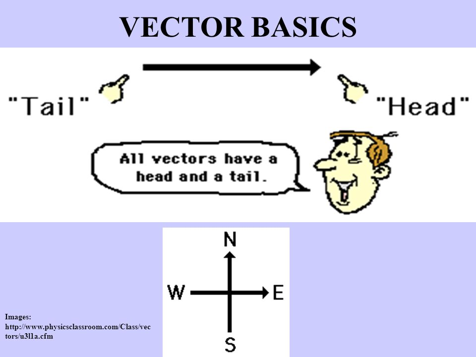 VECTOR BASICS Images: http://www.physicsclassroom.com/Class/vec tors/u3l1a.cfm