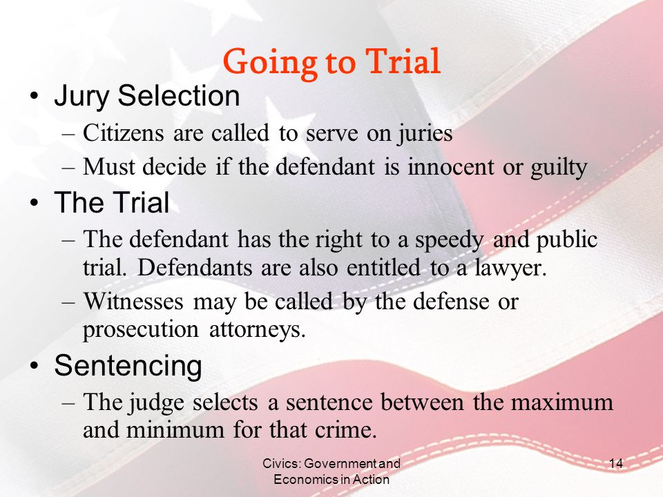 Civics: Government and Economics in Action 14 Going to Trial Jury Selection –Citizens are called to serve on juries –Must decide if the defendant is i
