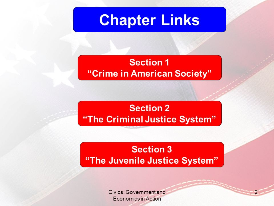 Civics: Government and Economics in Action 2 Chapter Links Section 1 Crime in American Society Section 2 The Criminal Justice System Section 3 The Juv
