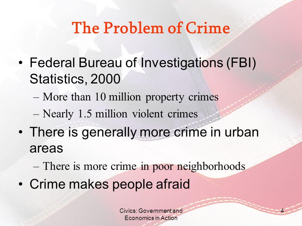 Civics: Government and Economics in Action 4 The Problem of Crime Federal Bureau of Investigations (FBI) Statistics, 2000 –More than 10 million proper