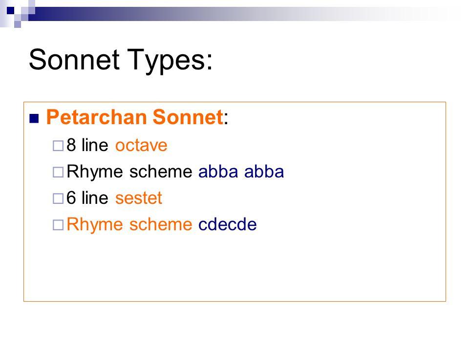 Sonnet Types: Petarchan Sonnet: 8 line octave Rhyme scheme abba abba 6 line sestet Rhyme scheme cdecde