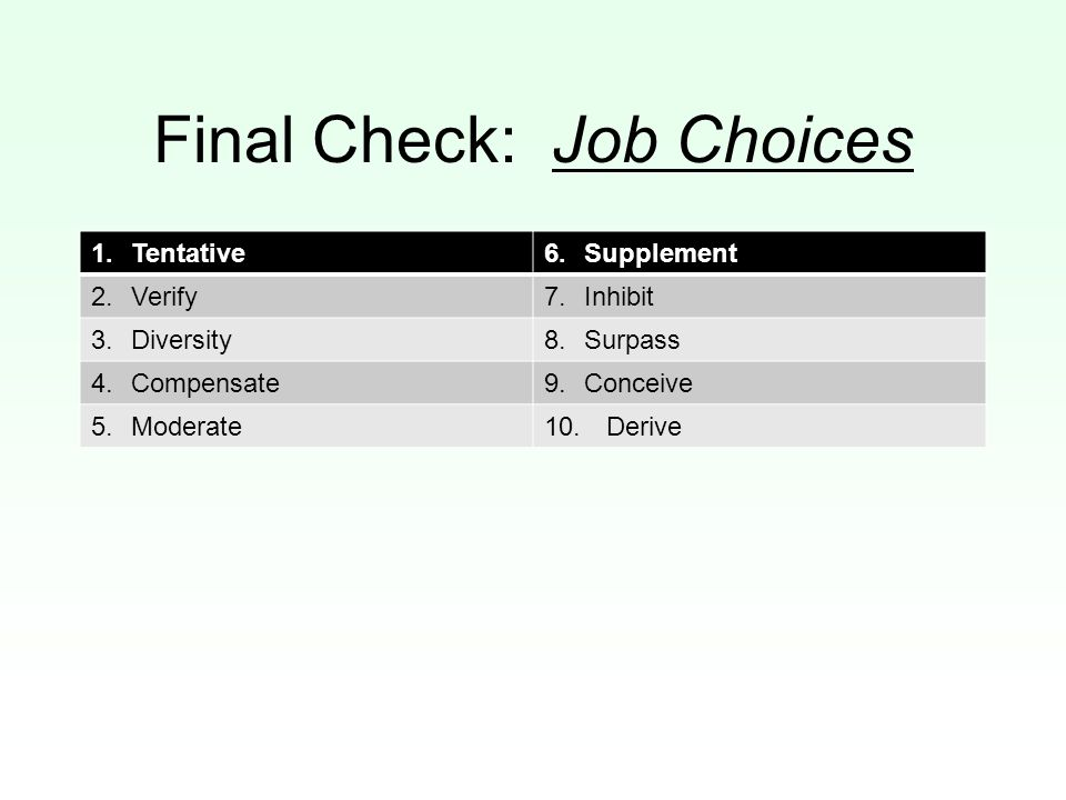 Final Check: Job Choices 1.Tentative6.Supplement 2.Verify7.Inhibit 3.Diversity8.Surpass 4.Compensate9.Conceive 5.Moderate10. Derive