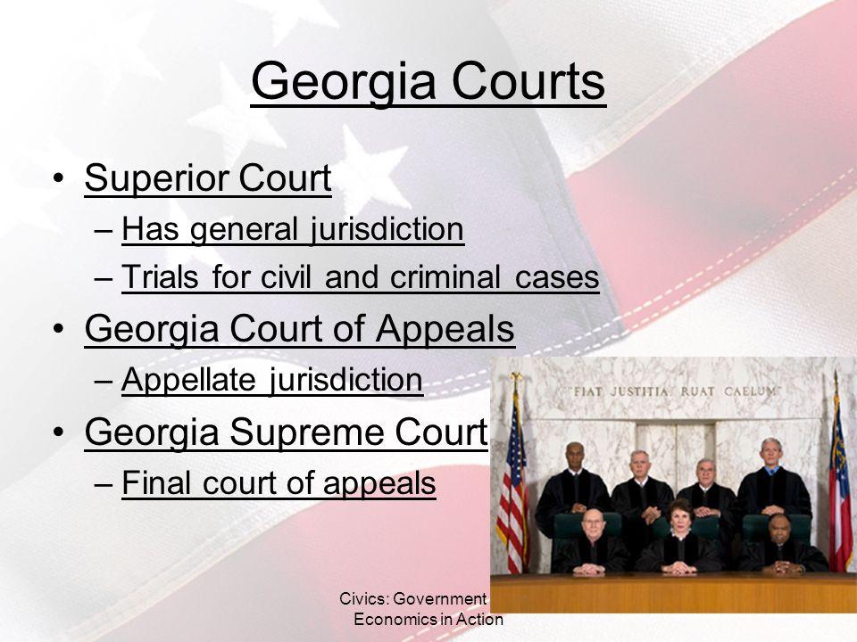 Georgia Courts Superior Court –Has general jurisdiction –Trials for civil and criminal cases Georgia Court of Appeals –Appellate jurisdiction Georgia