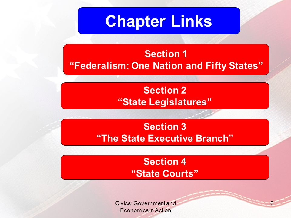 Civics: Government and Economics in Action 47 The Roles of Governor Chief Executive –Enforcement of law, commander-in-chief of the state militia or National Guard –Budget making –Appointment of officials Legislative Leader –Power to veto or item veto Judicial Role –Appointment of judges; pardons