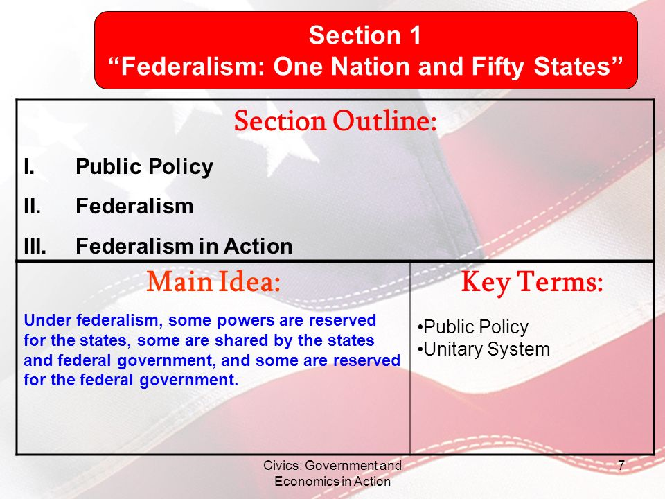 Pamphlet Create a pamphlet showing the following: –3 state powers –3 federal powers –3 shared powers –1 picture for each section (state, federal, shared) Civics: Government and Economics in Action 38