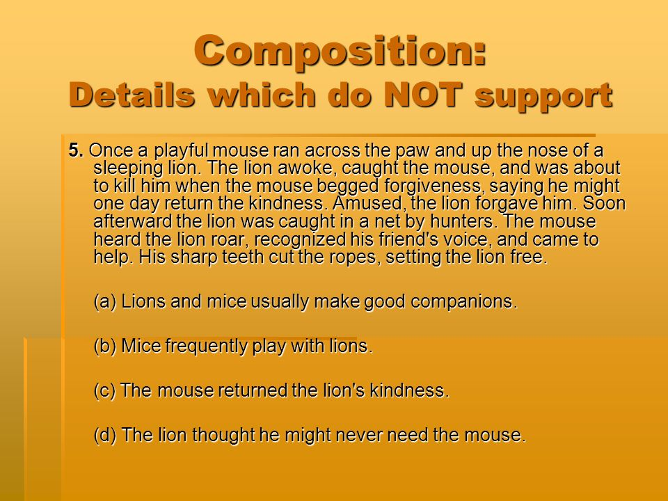 Composition: Details which do NOT support 5.