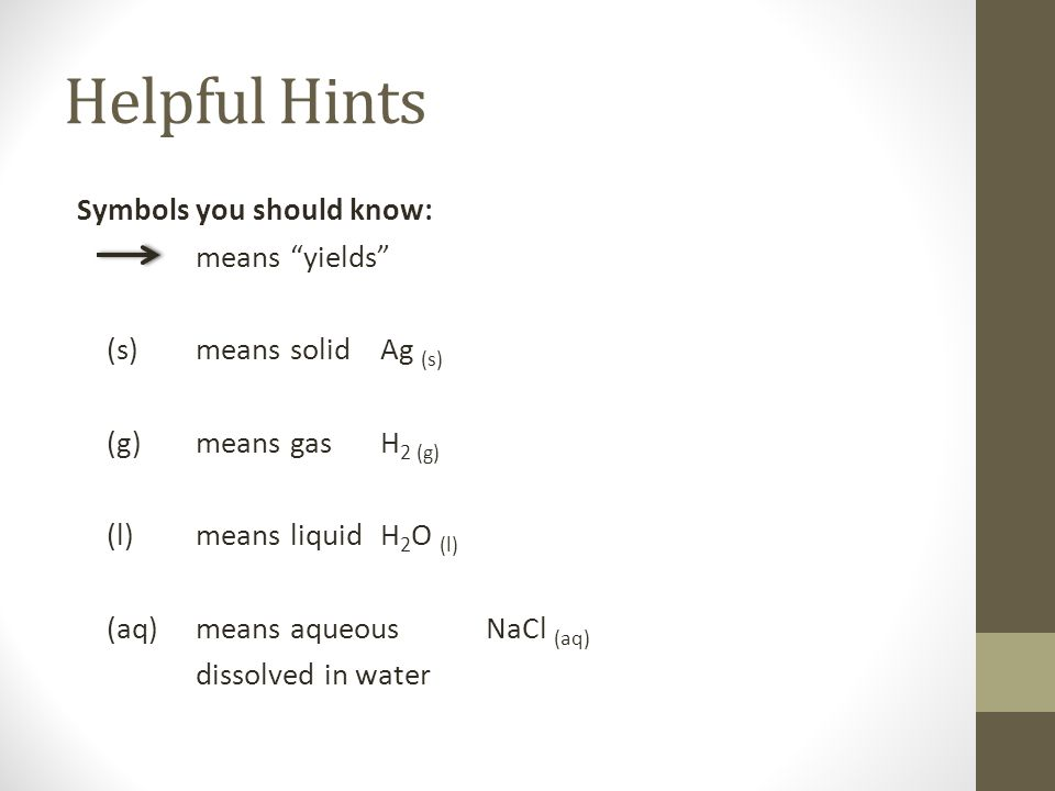 Helpful Hints Symbols you should know: means yields (s)means solidAg (s) (g)means gasH 2 (g) (l)means liquidH 2 O (l) (aq)means aqueousNaCl (aq) disso