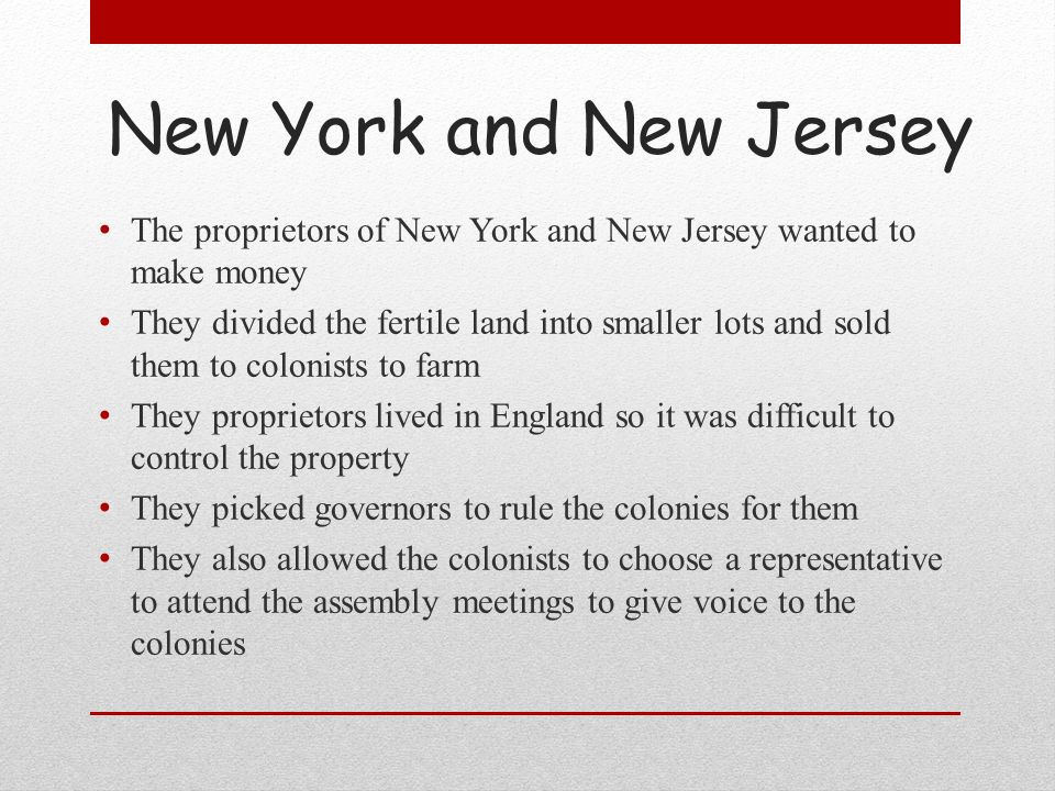 New York and New Jersey The proprietors of New York and New Jersey wanted to make money They divided the fertile land into smaller lots and sold them
