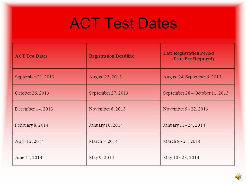SAT Test Dates TestRegistration DeadlineLate Registration October 5, 2013SAT & Subject TestsSeptember 6, 2013September 20, 2012 November 2, 2013SAT an