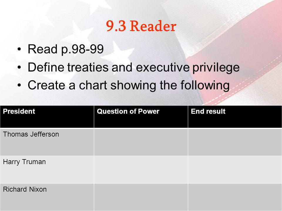 9.3 Reader Read p.98-99 Define treaties and executive privilege Create a chart showing the following Civics: Government and Economics in Action 35 Pre