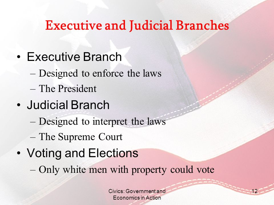 Civics: Government and Economics in Action 12 Executive and Judicial Branches Executive Branch –Designed to enforce the laws –The President Judicial B