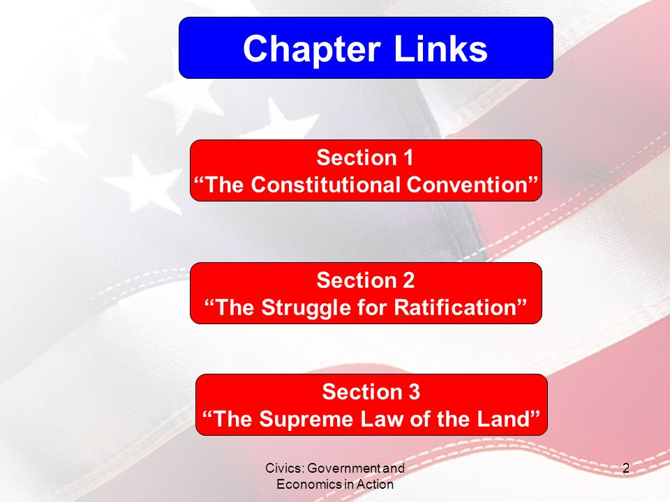 Civics: Government and Economics in Action 2 Chapter Links Section 1 The Constitutional Convention Section 2 The Struggle for Ratification Section 3 T