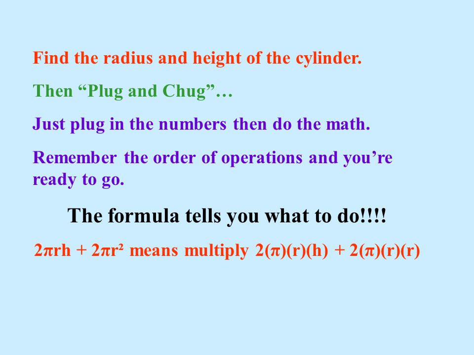 Find the radius and height of the cylinder. Then Plug and Chug… Just plug in the numbers then do the math. Remember the order of operations and youre