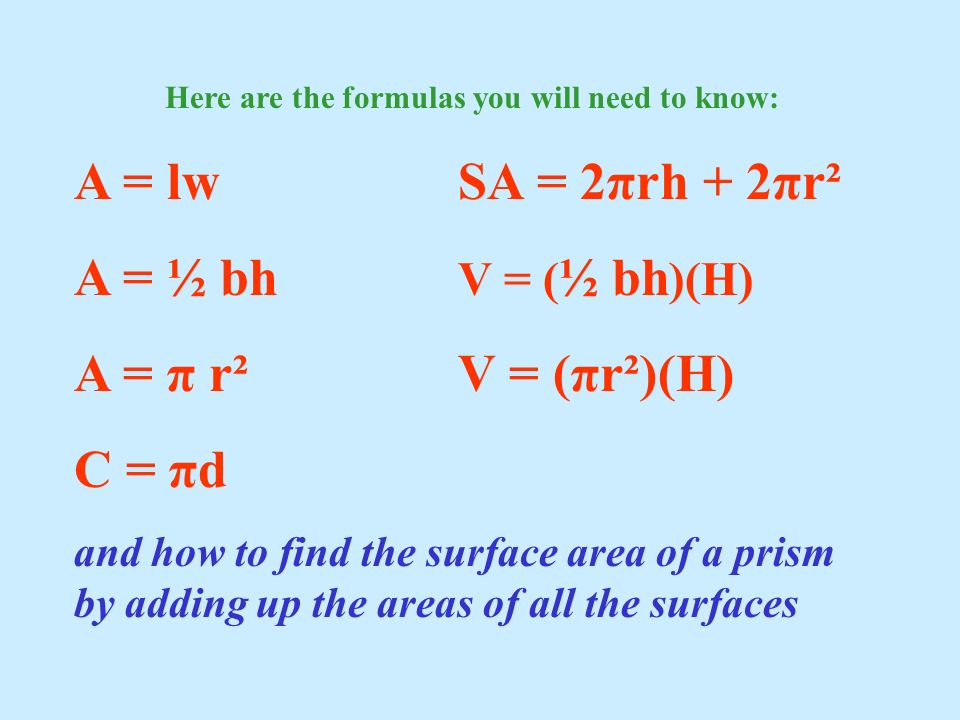 Here are the formulas you will need to know: A = lwSA = 2πrh + 2πr² A = ½ bh V = ( ½ bh )(H) A = π r²V = (πr²)(H) C = πd and how to find the surface a