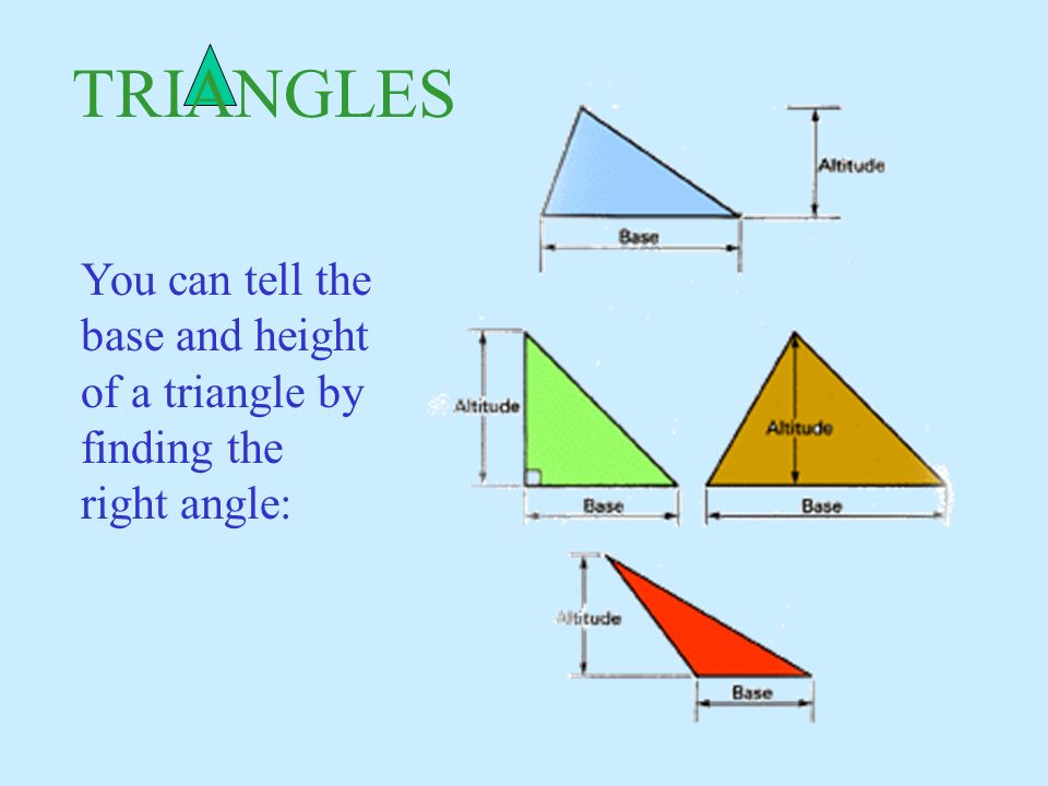 You can tell the base and height of a triangle by finding the right angle: TRIANGLES