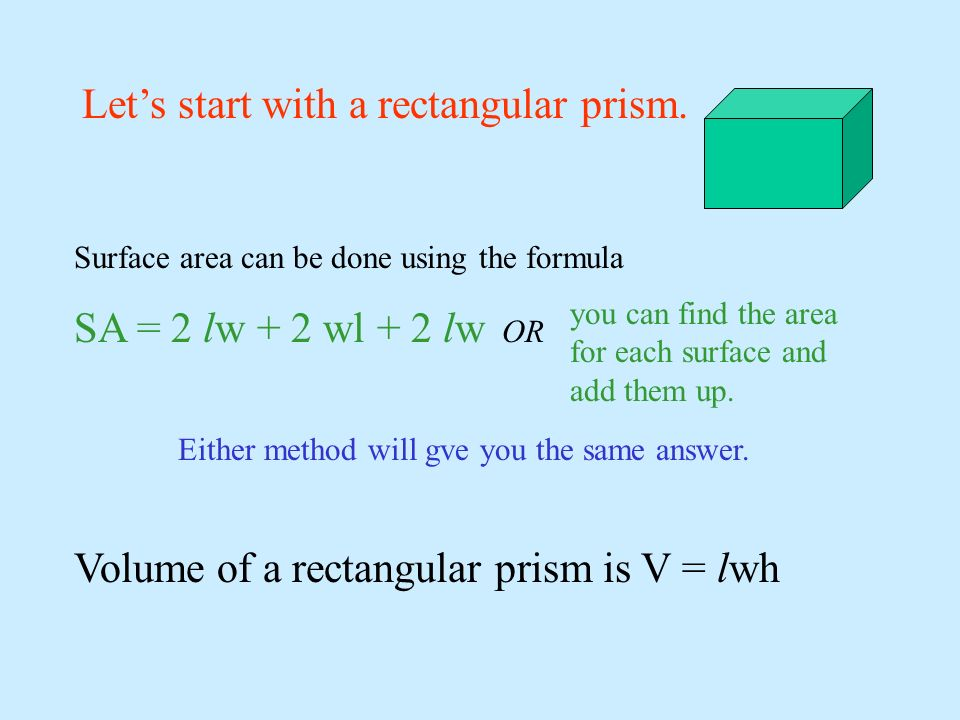 Lets start with a rectangular prism. Surface area can be done using the formula SA = 2 lw + 2 wl + 2 lw OR Either method will gve you the same answer.