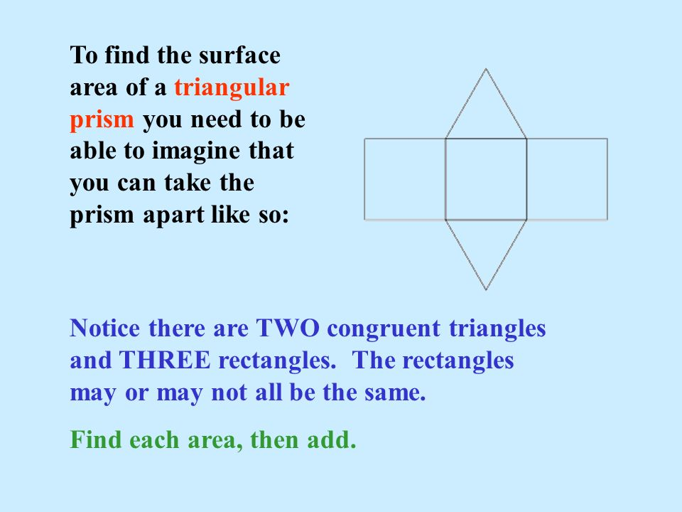 To find the surface area of a triangular prism you need to be able to imagine that you can take the prism apart like so: Notice there are TWO congruen
