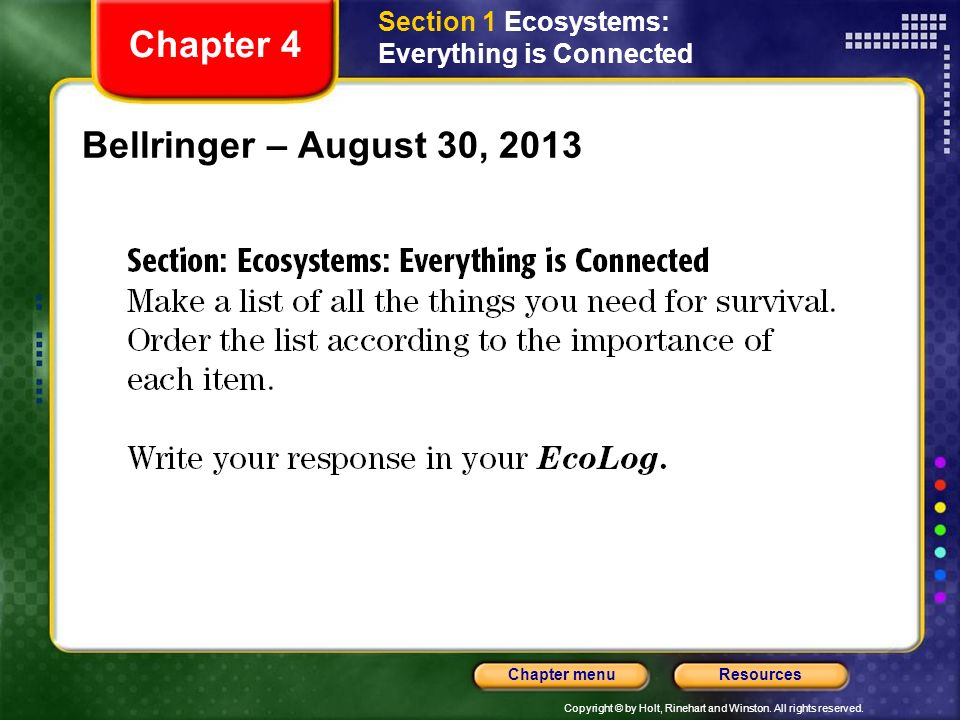 Copyright © by Holt, Rinehart and Winston. All rights reserved. ResourcesChapter menu Bellringer – August 30, 2013 Chapter 4 Section 1 Ecosystems: Eve