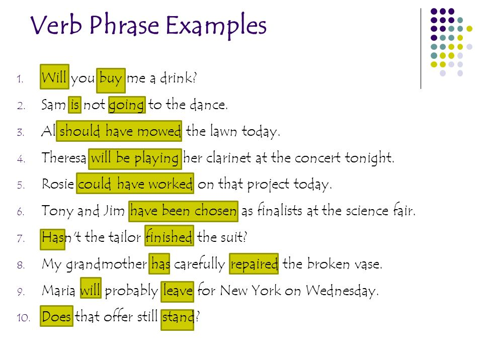 Verb Phrase Examples 1. Will you buy me a drink? 2. Sam is not going to the dance. 3. Al should have mowed the lawn today. 4. Theresa will be playing