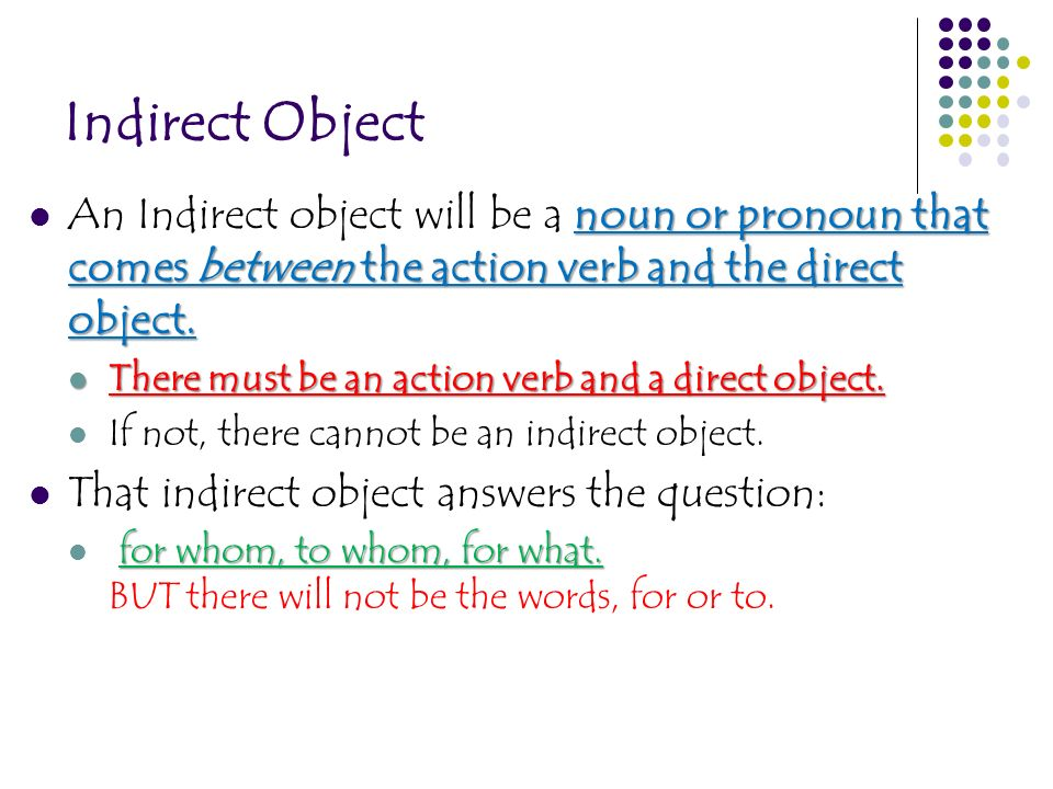 Indirect Object noun or pronoun that comes between the action verb and the direct object. An Indirect object will be a noun or pronoun that comes betw