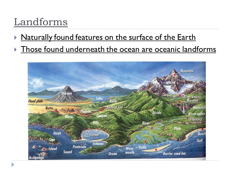 Naturally found features on the surface of the Earth Those found underneath the ocean are oceanic landforms