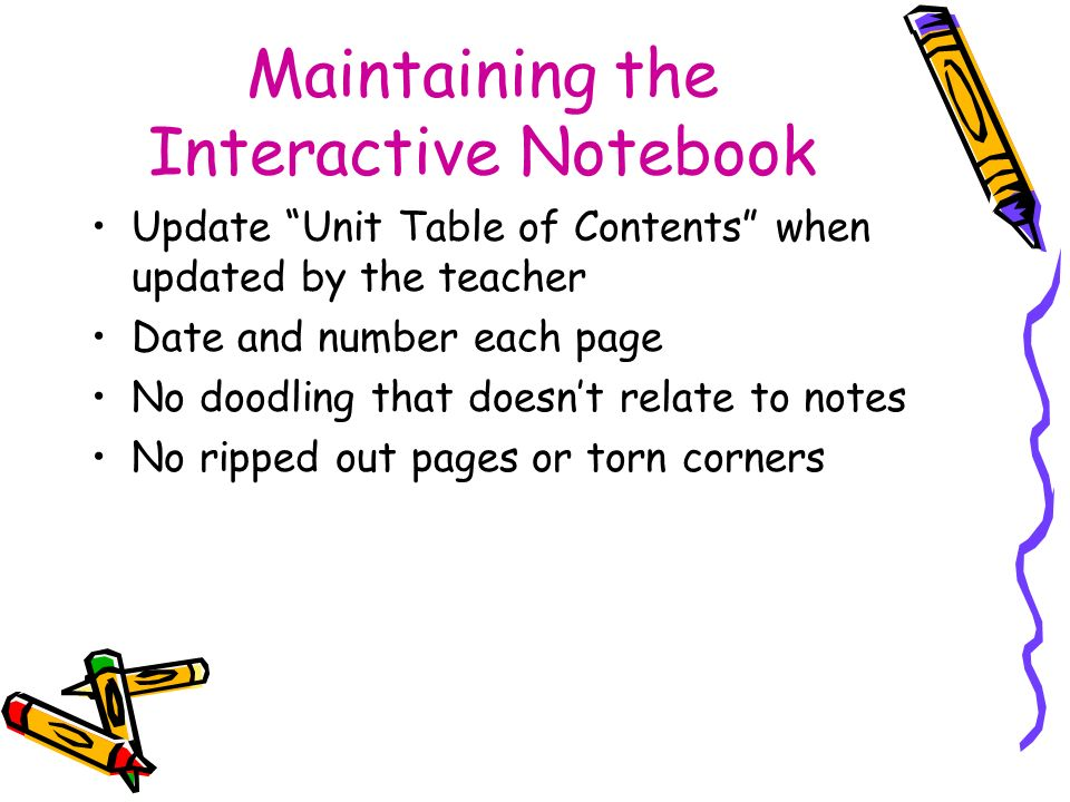 Maintaining the Interactive Notebook Update Unit Table of Contents when updated by the teacher Date and number each page No doodling that doesnt relat