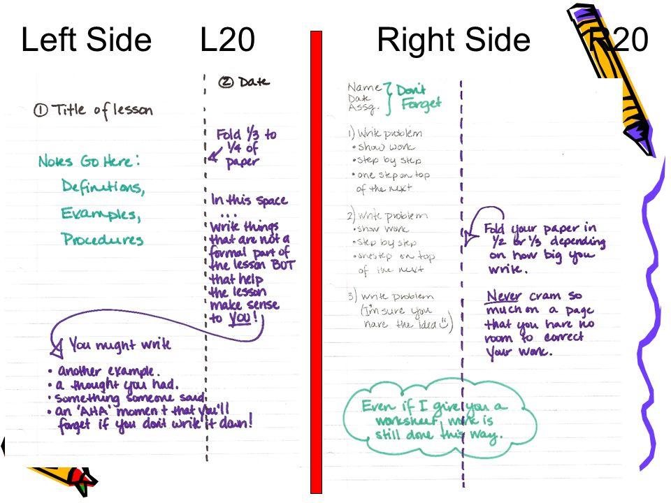Left Side L20 Right Side R20