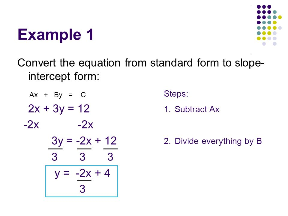 Example 1 Convert the equation from standard form to slope- intercept form: 2x + 3y = 12 -2x -2x 3y = -2x + 12 3 3 3 y = -2x + 4 3 Ax + By = C Steps: