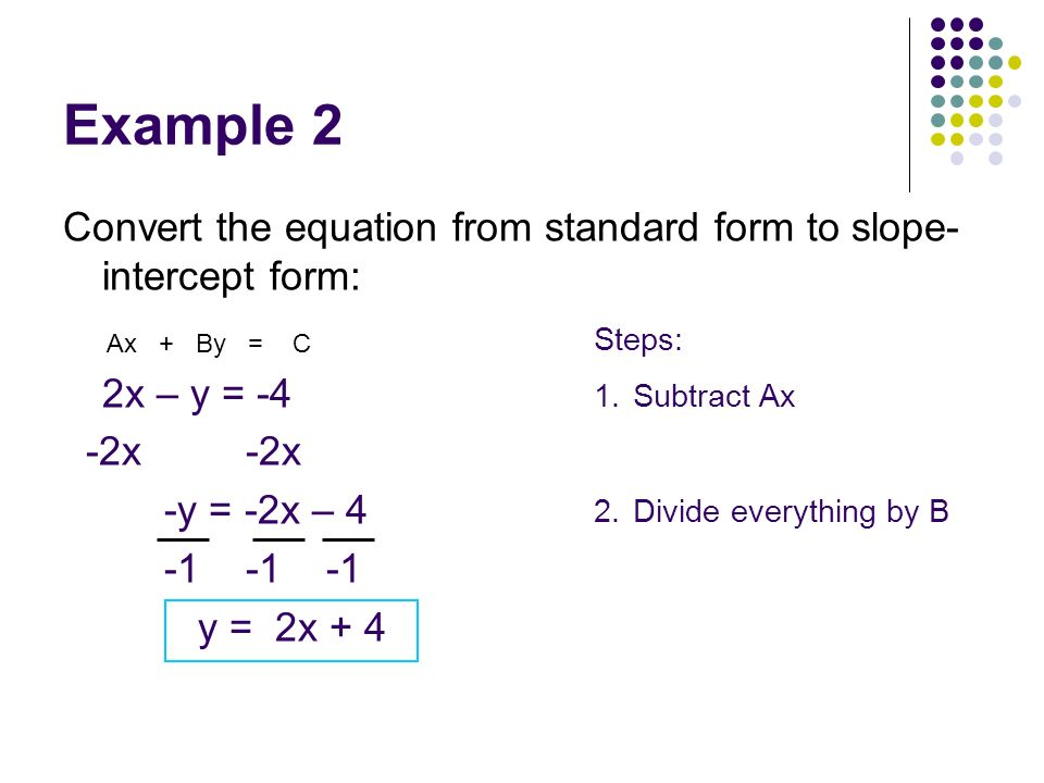 Example 2 Convert the equation from standard form to slope- intercept form: 2x – y = -4 -2x -2x -y = -2x – 4 -1 -1 -1 y = 2x + 4 Ax + By = C Steps: 1.