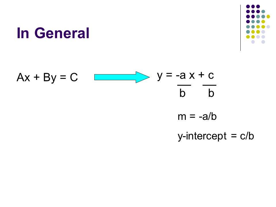 In General Ax + By = C y = -a x + c b b m = -a/b y-intercept = c/b
