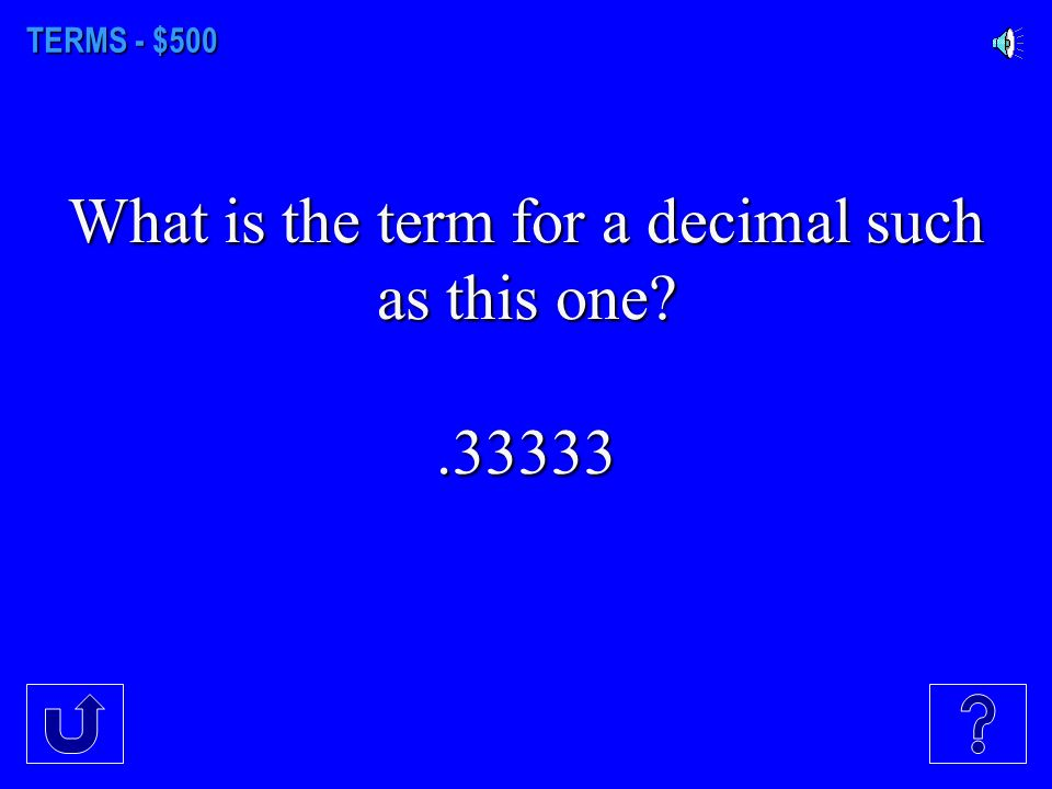 TERMS - $400 Can you name all the parts of a fraction (no numbers, just words)