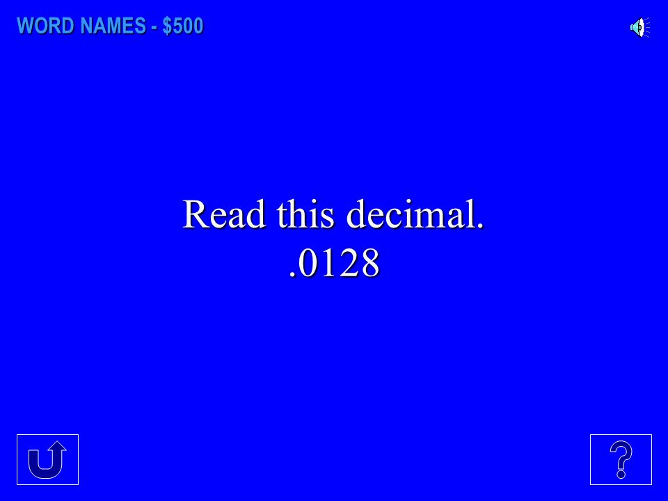 WORD NAMES - $400 How would you read this mixed number 8 12/13