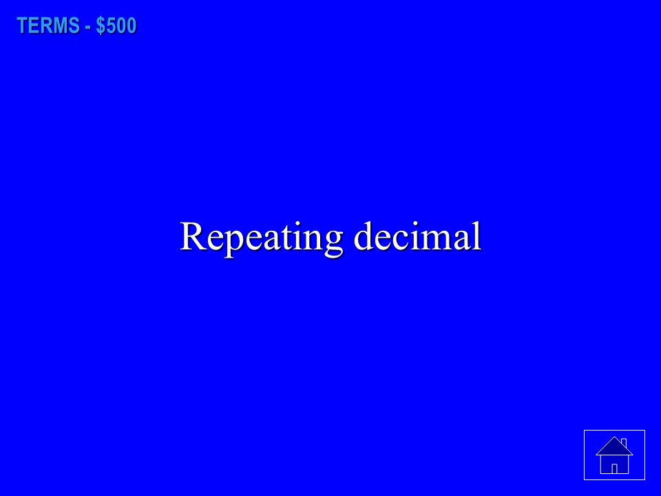 TERMS - $400 Numerator ------------ fraction bar Denominator