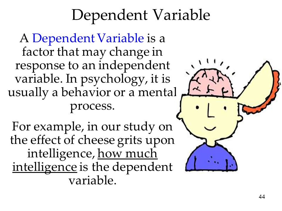 44 A Dependent Variable is a factor that may change in response to an independent variable. In psychology, it is usually a behavior or a mental proces