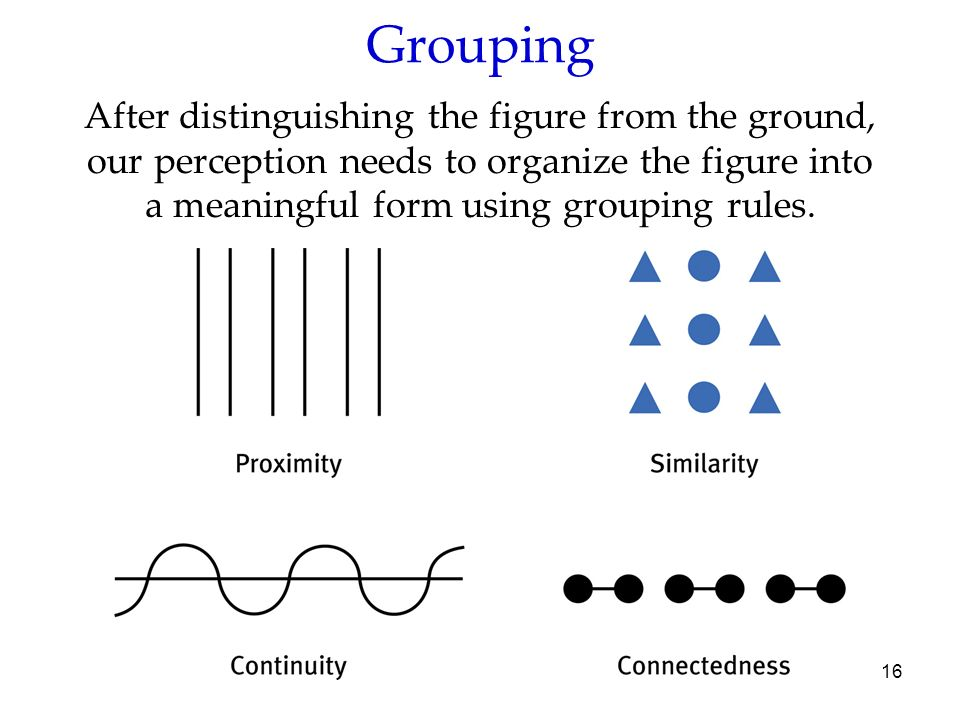 16 Grouping After distinguishing the figure from the ground, our perception needs to organize the figure into a meaningful form using grouping rules.