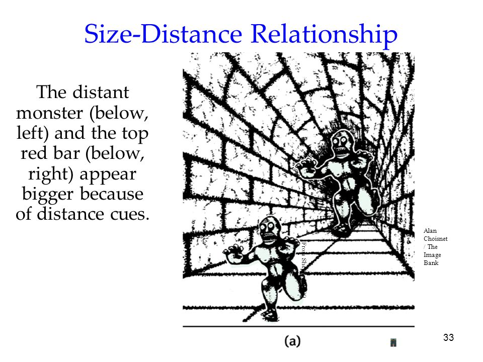 33 Size-Distance Relationship The distant monster (below, left) and the top red bar (below, right) appear bigger because of distance cues. From Shepar
