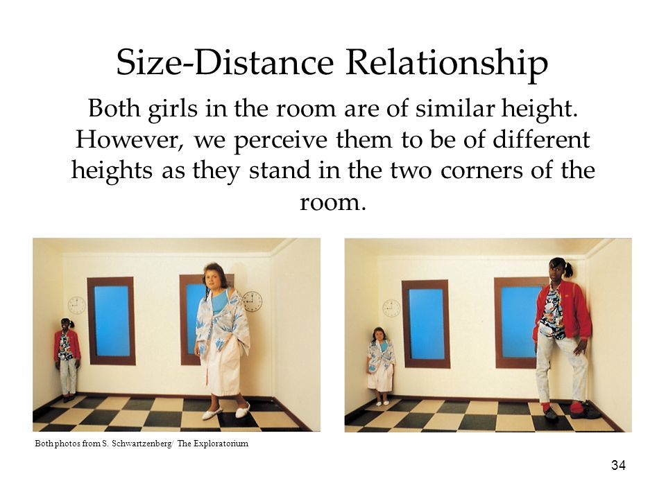 34 Size-Distance Relationship Both girls in the room are of similar height. However, we perceive them to be of different heights as they stand in the